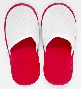 Pantufa Vermelha em Algodão com Faixa de Poliéster para Sublimação Adulto (SP140) - 01 Unidade