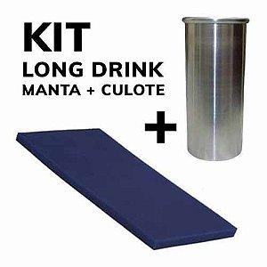 KIT Long Drink - Manta de Silicone 20x10cm  08mm de Espessura (MG139) + Culote Estabilizador Long Drink 220ml - 01 Unidade