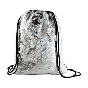 Mochila Saco de Lantejoulas Mágicas Dupla Face Prata e Branca - 36x45cm (2438)