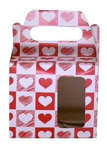 Caixinha de Caneca Vermelho C/ Coração Quadriculado Janela Fundo Automático (AL3020) - 01 Unidade