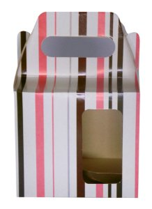 Caixinha de Caneca Listra Rosa Janela Fundo Automático (AL3023) - 01 Unidade