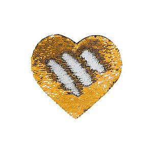 Capa de Almofada de Lantejoulas Mágicas Dupla Face Dourado e Branca Sublimáticas Coração 39x44cm ShopVirtua3000® (2193)