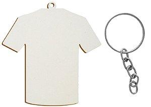 Chaveiro Modelo Camiseta 6x5cm Mdf 3mm Branco Resinado para Sublimação Ultra Brilho Com Corrente e Argola (PH034) - Pacote Com 10 Unidades