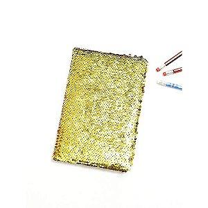 Agenda Pautada Com Capa Lantejoula Mágicas Dourado Com Branco Para Sublimação Tamanho A5 (2397) - 01 Unidade