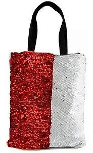 Bolsa Asa Dupla de Lantejoulas Mágicas Dupla Face Vermelho e Branca - 35x38cm (2365)