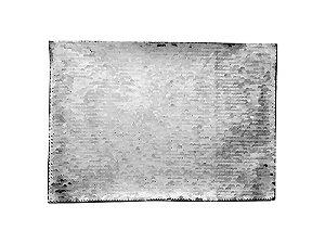 Aplique de Lantejoulas Dupla Face Retangular 21 X 28cm Prata e Branco Sublimáticos ShopVirtua3000® (2296)
