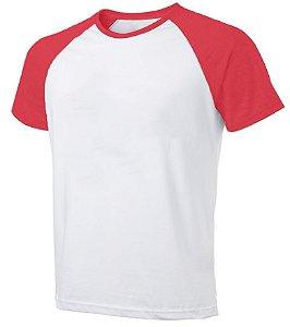 Camiseta Masculina Gola Redonda Manga Curta Modelo Raglan Vermelha com Corpo Branco 100% Poliéster para Sublimação - 01 Unidade