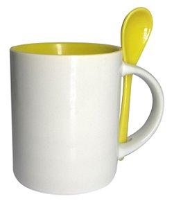 Caneca Cerâmica Branca para Sublimação Com Interior e Colher Em Amarelo Novo Modelo Reto 354ml Shopvirtua3000® (594) - 36 Unidades (Caixa Fechada)