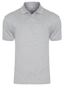 Camisa Tamanho P/M/G/GG Modelo Polo 50% Algodão e 50% poliéster Cinza Mescla para Transfer Silk - 01 Unidade
