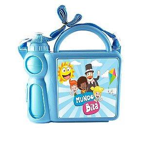 Lancheira Infantil Mala com Alça Regulável e Garrafa em Plástico Azul com Placa de Metal Sublimática (2035) - 01 Unidade
