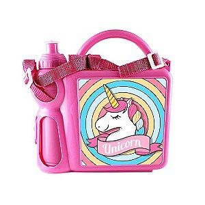Lancheira Infantil Mala com Alça Regulável e Garrafa em Plástico Rosa com Placa de Metal Sublimática (2036) - 01 Unidade (Dia das Crianças)
