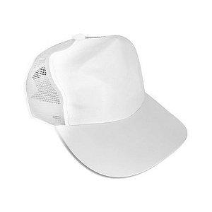 Boné Americano Cabeça Aba e Tela Branca para Sublimação em Microfibra Infantil - 01 Unidade
