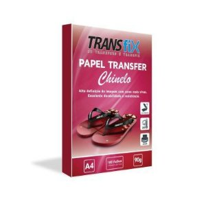 Papel Transfer Laser 90g para Chinelo Fundo Rosa A4  - Pack 100 Folhas