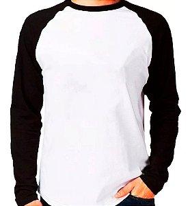 Camisa Masculina Gola Redonda Manga Longa Modelo Raglan Preta com Corpo Branco 100% Poliéster para Sublimação - 01 Unidade