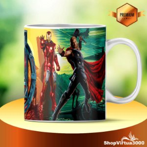 Caneca Cerâmica Classe +AAA Personalizada Vingadores: Homem de ferro + Thor - 01 Unidade