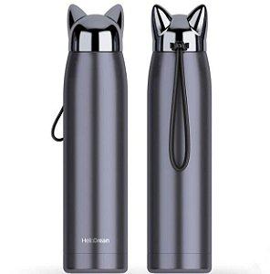 Garrafa Térmica Linha Luxo Crazy Cat em Inox Azul Escuro 320ml (ShopVirtua3000®) (2071) - 01 Unidade