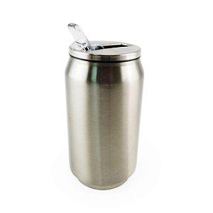 Latinha Coca-cola em Aço Inox Prata 350 Ml C/ Canudo (2316) - 01 Unidade
