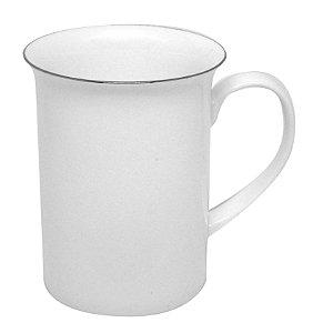 """Caneca Porcelana 295 Ml Branca Modelo """"apolo"""" Borda Prata - (2622) - 01 Unidade"""