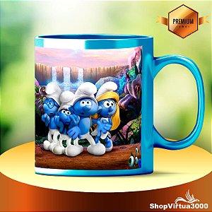 Caneca Cerâmica Azul Claro com Tarja Branca Personalizada Os Smurfs (B019) - 01 Unidade