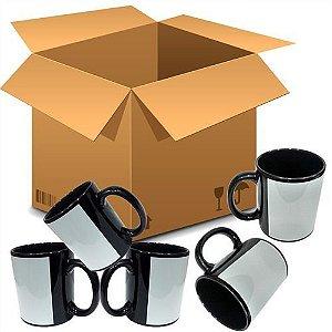 Caneca Cerâmica Preta com Tarja Branca 325ml Nacional Resinada P/ Sublimação - ShopVirtua3000® (AZ10) - 36 Unidades (Caixa Fechada)