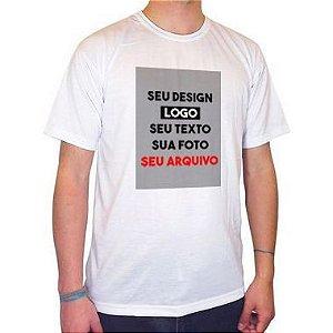 Camiseta/Camisa Tamanho P Gola Careca Manga Curta Unissex 100% Poliéster Personalizada (ARTE FRENTE EM FOLHA A4 VERTICAL) (Com Seu Arquivo) - 01 Unidade