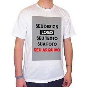 Camiseta/Camisa Tamanho P Gola Careca Manga Curta Unissex 100% Poliéster Personalizada (ARTE FRENTE EM FOLHA A3 VERTICAL ) (Com Seu Arquivo) - 01 Unidade