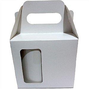 Caixinha de Caneca Branca com Alça - Janela - Fundo Automático (Al3015) (Não Sublimável) - 10 Unidades
