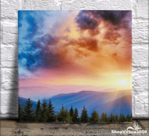 Azulejo Ultra Brilho 15x15cm / 20x20cm Personalizado Pôr Do Sol nas Montanhas (AL2002 - AL2004) - 01 Unidade
