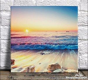 Azulejo Ultra Brilho 15x15cm / 20x20cm Personalizado Pôr do Sol no Mar Colorido (AL2002 - AL2004) - 01 Unidade