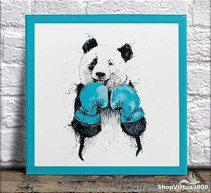 Azulejo Ultra Brilho 15x15cm / 20x20cm Personalizado Panda Boxeador Cute (AL2002 - AL2004) - 01 Unidade