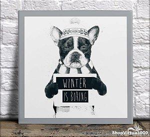 Azulejo Ultra Brilho 15x15cm / 20x20cm Personalizado Bulldog Winter is Boring (AL2002 - AL2004) - 01 Unidade