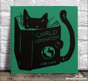 Azulejo Ultra Brilho 15x15cm / 20x20cm Personalizado Mundo dos Gatos (AL2002 - AL2004) - 01 Unidade