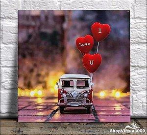 "Azulejo Ultra Brilho 15x15cm / 20x20cm Personalizado Kombi Balões ""I Love U"" (AL2002 - AL2004) - 01 Unidade"