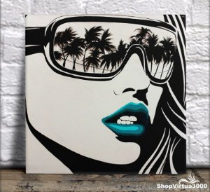 Azulejo Ultra Brilho 15x15cm / 20x20cm Personalizado Arte Pop de Rosto (AL2002 - AL2004) - 01 Unidade