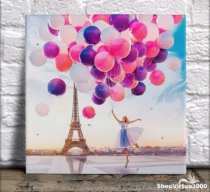 Azulejo Ultra Brilho 15x15cm / 20x20cm Personalizado Balões em Paris (AL2002 - AL2004) - 01 Unidade
