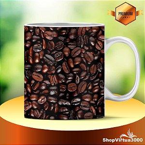 Caneca Cerâmica Classe +AAA Personalizada Textura Grãos de Café - 01 Unidade