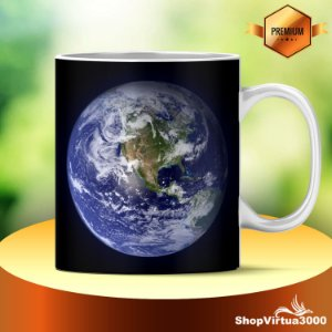 Caneca Cerâmica Classe +AAA Personalizada Planeta Terra - 01 Unidade