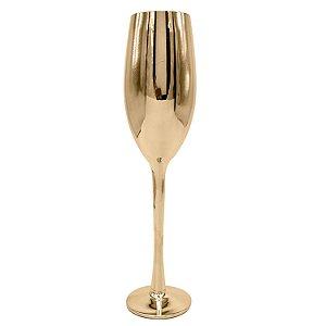 Taça Vidro Cristal P/ Champagne Dourado 230ml (Linha Elegance Sublimação) (2683) - 01 Unidade