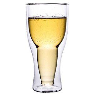 Copo Vidro Cristal Parede Dupla P/ Cerveja - Long Neck 350ml (Linha Elegance Sublimação) (2717) - 01 Unidade