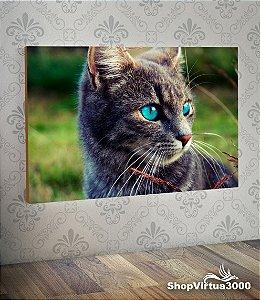 Placa em MDF Horizontal 6mm Ultra Brilho Personalizado Gato Cinza Olhos Azuis - 01 Unidade