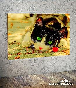 Placa em MDF Horizontal 6mm Ultra Brilho Personalizado Gatinho Olhos Verdes - 01 Unidade