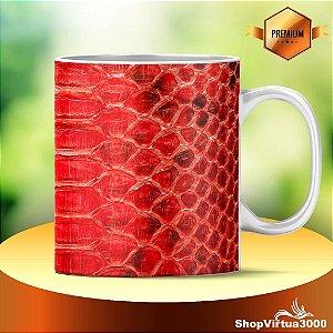 Caneca Cerâmica Classe +AAA Personalizada Textura Piton Vermelha - 01 Unidade
