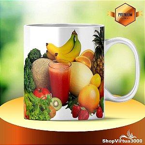 Caneca Cerâmica Classe +AAA Personalizada Legumes e Frutas - 01 Unidade