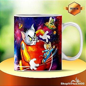 Caneca Cerâmica Classe +AAA Personalizada Tom e Jerry no Espaço- 01 Unidade