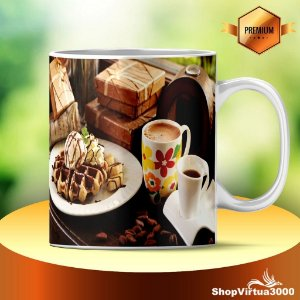 Caneca Cerâmica Classe +AAA Personalizada Waffles Coffee  - 01 Unidade