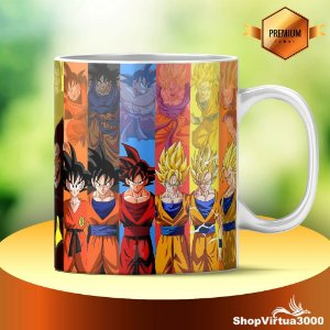 Caneca Cerâmica Classe +AAA Personalizada Dragon Ball Z Transformações Goku - 01 Unidade