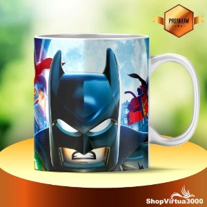 Caneca Cerâmica Classe +AAA Personalizada Batman e Superman Lego - 01 Unidade
