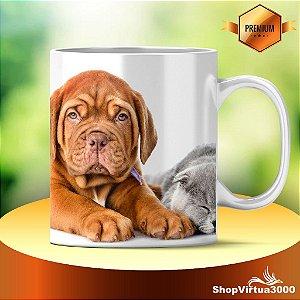 Caneca Cerâmica Classe +AAA Personalizada Cão e Gato Friends - 01 Unidade