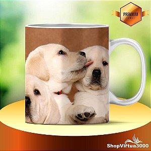 Caneca Cerâmica Classe +AAA Personalizada Little Cute Labradores - 01 Unidade