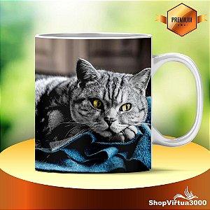 Caneca Cerâmica Classe +AAA Personalizada Gato Malhado Cinza - 01 Unidade